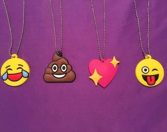 Emoji Necklaces, smiley face, poop emoji, laughing emoji, heart pendant, Party favors