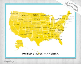 United States Map Printable Art
