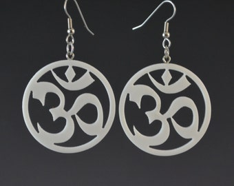 Plain OM Earrings - White Earrings Aum Yoga Meditation Spiritual Jewelry Upcycled Corian Handmade Recycled Jewelry by Mark Noll Gift for Her