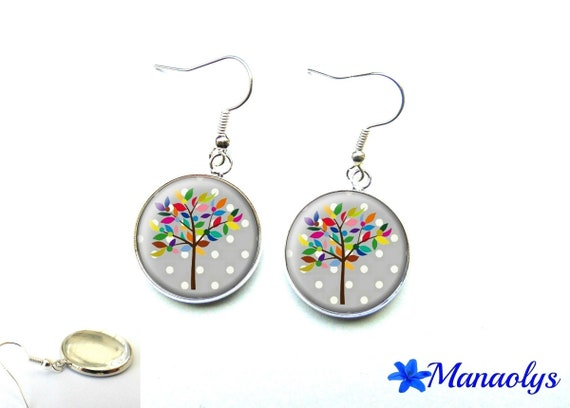 Trees with colorful leaves on a gray background with white polka dots, 666 glass cabochons earrings