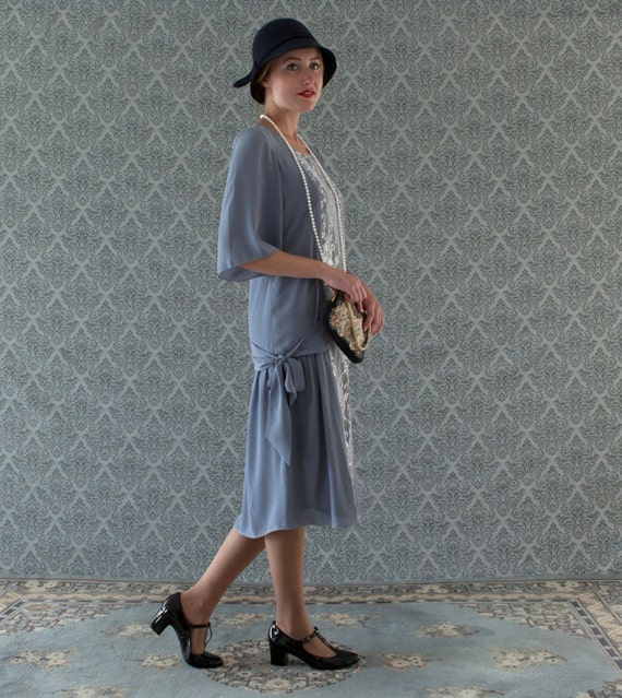 1920s Day Dresses, Tea Dresses, Mature Dresses with Sleeves Grey and silver Great Gatsby dress with elbow length sleeves $140.00 AT vintagedancer.com