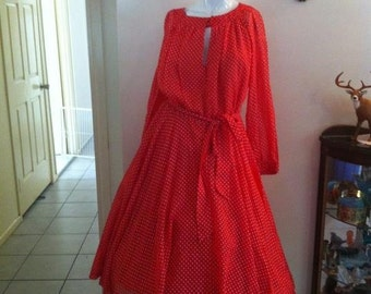 Red Spot Secretary / Party Dress 1950's (Long Sleeve)