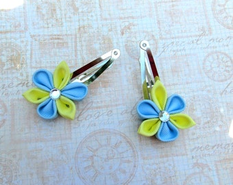 Yellow and Blue Kanzashi Flower Snap clips