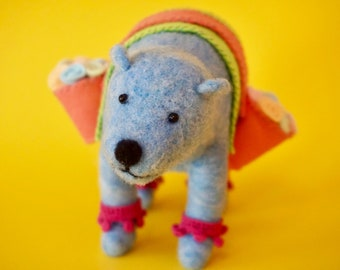 Needle felted blue bear with flowers