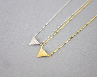 Gold and Silver Tiny Triangle Charm Necklace . Dainty and Simple Necklace Bridesmaid Gifts Bridesmaid Necklace Birthday Gifts