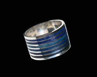925 Solid Sterling Mosaic Blue Ocean Tones ring - ALL SIZES