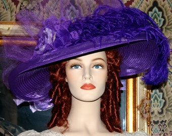 Edwardian Hat, Kentucky Derby Hat, Ascot Hat, Tea Party Hat, Titanic Hat, Somewhere Time Hat, Downton Abbey Hat - Purple Rose Crystal Fairy