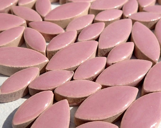 "Rose Petals Mosaic Tiles - 50g Ceramic Leaves in Mix of 2 Sizes 1/2"" and 3/4"" - Medium Pink"