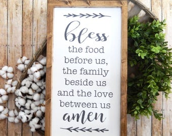 Bless the Food Before Us, the Family Beside Us, and the Love Between Us | Farmhouse Decor | Bless the Food Sign | Dining Room Decor