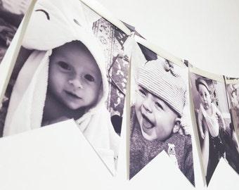 Newborn to 11 Months 1st Birthday Party Photo Banner Garland