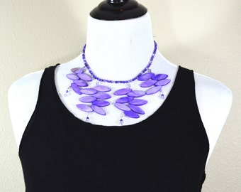 Plum Purple Tendrils Statement Necklace - organic leafy shapes