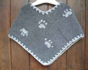 Poncho baby & child pattern paw prints different variations knitted handmade from 3 months to 4t