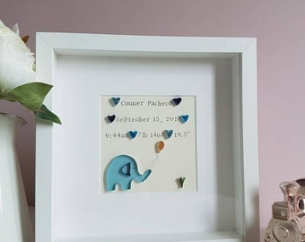 Personalised, baby boy gift, New baby, paper quilling art, Baby Elephant, Nursery wall art, Nursery Decor, Christening gift, naming ceremony