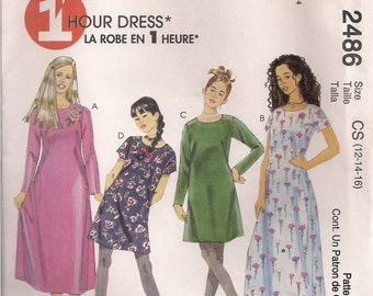 McCall's Sewing Pattern 2486 - Girls' Dress in Two Lengths (7-10, 12-16)
