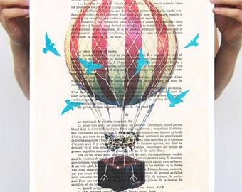 AFFICHE 11 x 16: Airballoon avec des oiseaux bleus, illustration art mural décor mural touristique dessin technique mixte illustration numérique