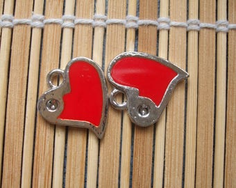 2 red metal heart enameled charms