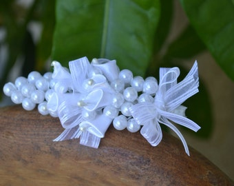 Wedding Men's Boutonniere White Satin Flower with pearls
