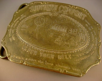 Collectible Vintage Southern Comfort Under Your Belt Brass Belt Buckle by Tiffany Studio New York