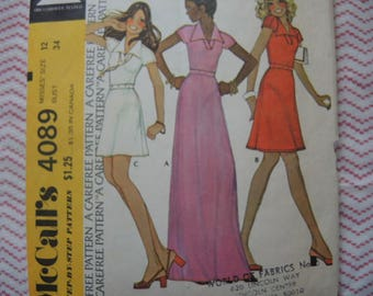 vintage 1970s McCalls sewing pattern 4089 misses dress size 12 Stephen Burrows