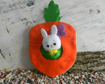 Carrot Felt Easter Bunny Softie Plushie Quiet Book by Noialand