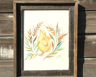 Chick, Barnwood Framed Original Painting, watercolor, chicken, acrylic, farm, flowers
