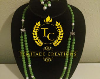 Lemon Green Beaded 2 Strand Necklace With Earrings