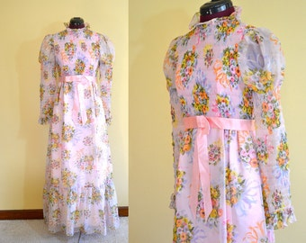 1960s Vintage Pink Chiffon Floral Prom Party Dress size 9/10 (XS S) bust 32