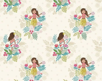 Island Girl on white sand, fabric by Lewis & Irene
