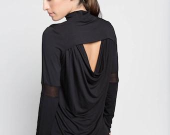 Party Top / Women's Blouse / Long Sleeve Top / Polo-Neck Blouse / Turtleneck Blouse / Black Shirt / Marcellamoda - MB0753