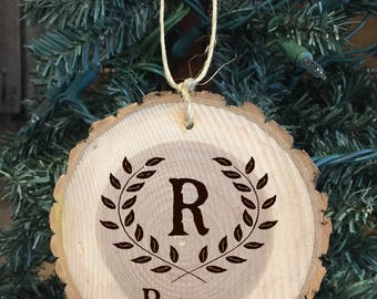 Personalized Wood Ornament with The Family Last Initial and Last Name