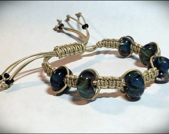Bead and Micro Macrame Tibetan Prayer Style Bracelet with leather and handmade lampwork glass beads by Hannah Rosner