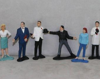 James Bond Gilbert 1965 1960's 3'' Statue Playset Figures Set x8