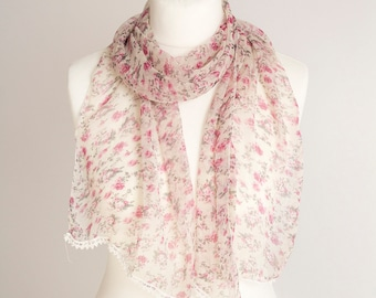 """vintage long scarf, spring summer polyester scarf, fabric women scarf 34x160cm / 13x63"""" floral scarf sheer scarf pink gray"""