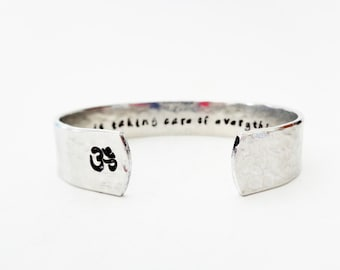 Yoga Gift | Graduation Gift | Friend Gift | The Universe Is Taking... Custom Hand Stamped Cuff Bracelet,Customizable