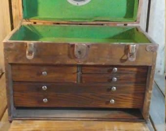 Antique Machinist Box, Wooden Machinist Tool Box