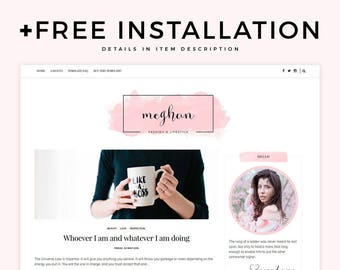 "Feminine Blogger Template - ""Meghan"" 