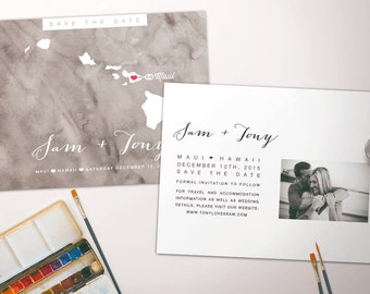 Grey Watercolour Save The Date Postcard - Any Destination!