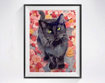 Black cat, Art Prints Sale, Black cat painting, Edgar Allan Poe, Watercolor print, Kitten watercolor painting, Kitten illustration, Sale