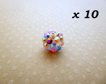 Resin 10 beads for Shamballa multicolored 12 mm