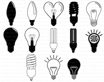 Lightbulbs Svg, Light Bulb Monogram SVG files for Silhouette Cameo and Cricut. Incandescent lamp, Light Bulbs  Clipart PNG included.