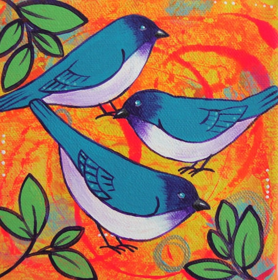 Trio Of Blue Birds Painting Bright Colorful Bird Art Small Canvas Artwork Nature Decor Home Animal Gift For Her Nursery