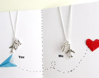 SALE,Set of 2 Long distance friendship necklace,Silver airplane necklaces with initial,inspirational quote,Travel necklace,Best friend gifts