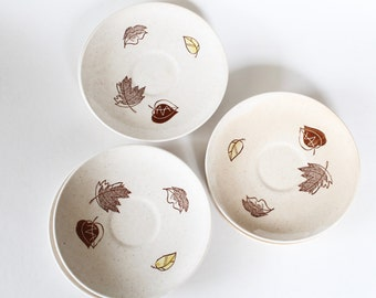 Vintage 1950s/1960s Ceramic Brown and Yellow Mod Leaf Pattern Saucers Set of Six