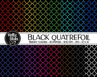 50% off SALE!! 16 Black Quatrefoil Digital Paper • Rainbow Digital Paper • Commercial Use • Instant Download • #QUATREFOIL-101-1-BB