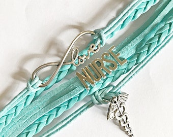 Aqua Leather Nurses Charm Bracelet