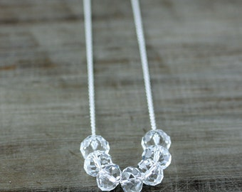 Carrie Necklace, Crystal Clear Swarovski Necklace on Sterling Silver or 14k Gold Fill