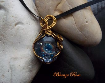 Handmade wire wrapped galaxy glass nugget necklace