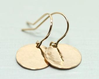 Gold earrings - gold disc earrings - gold circle earrings - minimalist jewelry - gold jewelry - Sea and Cake - 14k gold filled earrings