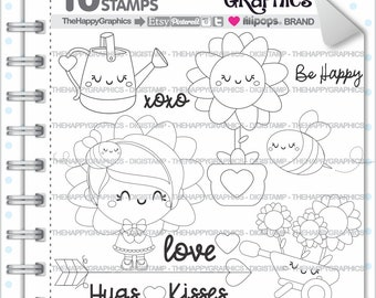 Sunflower Stamp, 80%OFF, Commercial Use, Digi Stamp, Digital Image, Sunflower Digistamp, Girl Digital Stamp, Cute Digistamp, Flower, Outline