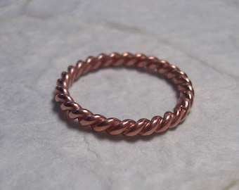 Pure Copper Twisted Ring in Various Gauges